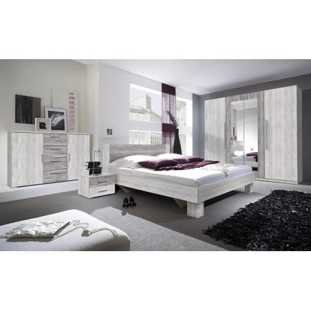Chambre complète Irina imitation bois gris clair et gris foncé : Lit 180x200 cm + armoire + commode + chevets.