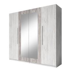 Ensemble pour chambre Irina imitation bois gris clair et gris foncé : Lit 160x200 cm + armoire + commode + chevets.