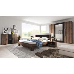 Ensemble pour chambre Irina imitation chêne foncé et noir : Lit 160x200 cm + armoire + commode + chevets.