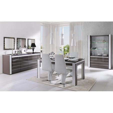 Meuble de salon et salle à manger LINA 9 éléments noir et blanc brillant