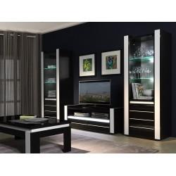 Meuble de salon salle à manger LINA 9 éléments noir et blanc brillant