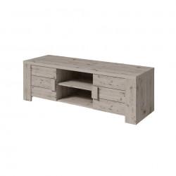 Meuble tv design AMEK couleur chêne. Idéal pour poser votre télévision et meubler votre salon. Deux portes, deux niches