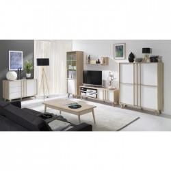 Ensemble de meubles style Scandinave pour votre salon coloris chêne clair et blanc. Collection MALMO