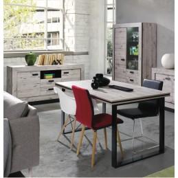 Ensemble MALAGA pour salle à manger, coloris chêne wellington. Buffet + vitrine avec LED + table 160. Meuble design