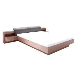 Lit double180x200 effet noyer collection RENATO avec sommier et tables de chevet intégrées
