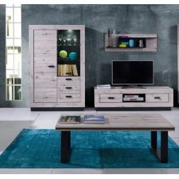 Ensemble MALAGA pour salon coloris chêne wellington. Meuble TV + table basse + vitrine avec LED + étagère