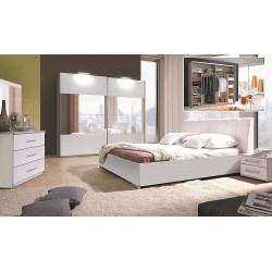 Lit coffre adulte VERONA. Couchage 160x200 cm. Coloris blanc. Lit design et moderne