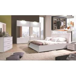 Ensemble chambre complète VERONA : Lit 180 x 200 option coffre, 2 chevets, armoire, commode et matelas mémoire de forme.