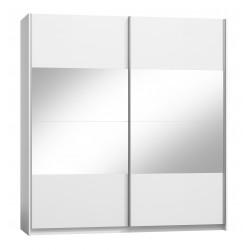 Ensemble VERONA blanc : lit design en simili cuir 180 x 200 cm avec 2 chevets, 1 armoire, 1 commode.