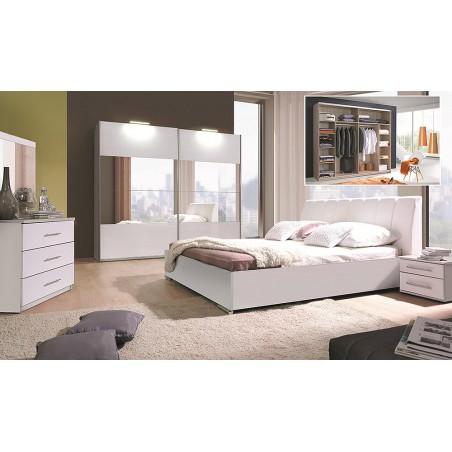 Ensemble blanc brillant lit design en simili cuir et 2 chevets VERONA. Meuble design pour chambre à coucher