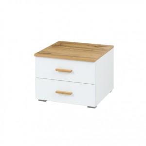 Lot de deux tables de chevet design pour votre chambre à coucher, collection WOOD. Coloris chêne et blanc alpin
