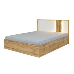 Lit adulte design WOOD 160 x 200 cm + LED dans la tête de lit. Meuble design idéal pour votre chambre.