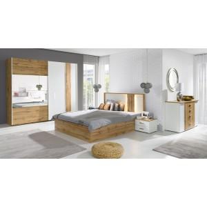 Lit adulte design WOOD 160x200 cm + option coffre + LED dans la tête de lit.