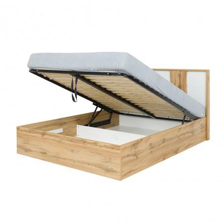 Lit adulte design WOOD 180 x 200 cm + option coffre + LED dans la tête de lit. Meuble design, idéal pour votre chambre.