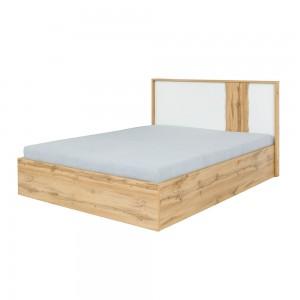 Lit adulte design WOOD avec deux chevets + LED dans la tête de lit.
