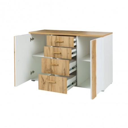 Chambre à coucher complète WOOD chêne et blanc. Lit + armoire + commode + 2 chevets