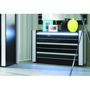 Ensemble design pour chambre à coucher LINA noir. Lit + 2 chevets avec LED + commode avec LED