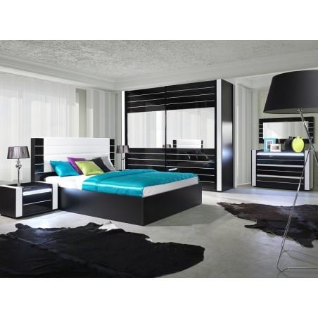 Ensemble design pour chambre à coucher LINA noir. Lit 180x200 + 2 chevets avec LED + commode avec LED