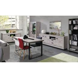 Vitrine, vaisselier, argentier MALAGA coloris chêne wellington + LED. Meuble design pour votre salle à manger.