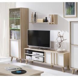 Ensemble design pour votre salon MALMO. Bibliothèque petit modèle + Meuble tv + Etagère. Meuble type scandinave