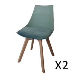 Chaises velours COMOS coloris vert pour votre salle à manger. (lot de 2)