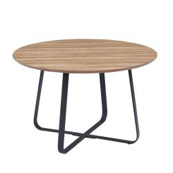 Table à manger ronde NOVES, ø120cm - brun/noir - Style Moderne