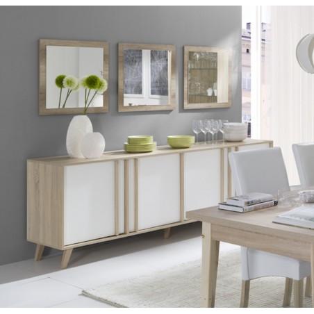 Buffet grand modèle + 3 miroirs collection MALMO couleur chêne clair et blanc.
