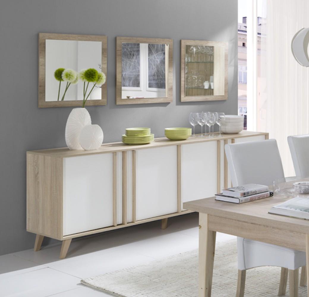 salle manger buffet enfilade bahut gm malmo 3 miroirs meuble. Black Bedroom Furniture Sets. Home Design Ideas
