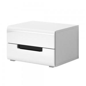 Table de chevet deux tiroirs, collection LUCIA. Coloris blanc.