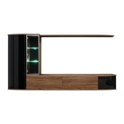 Ensemble complet meuble TV ZENITH. Composition murale effet chêne. LED incluses.