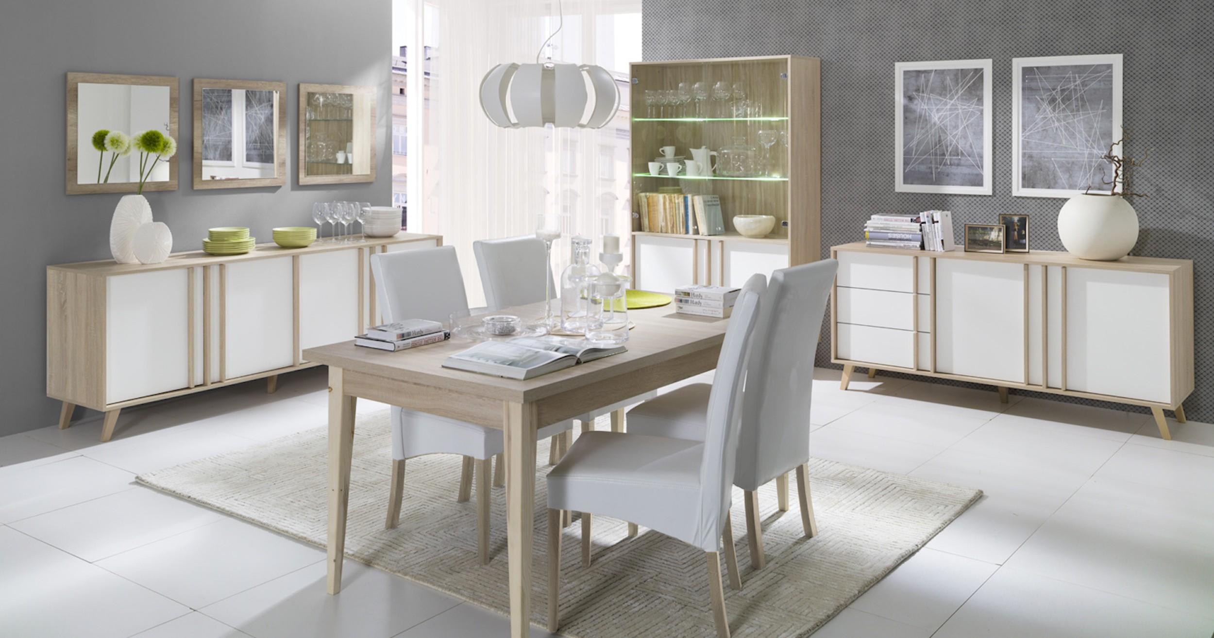 Salle manger buffet enfilade bahut gm malmo 3 miroirs meuble - Meuble bas salle a manger ...