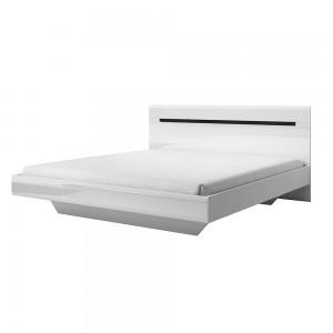 Ensemble Lit 160x200 + 2 Chevets collection LUCIA. Couleur blanc, style design