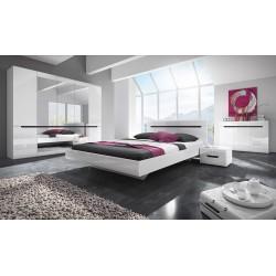 Chambre à coucher LUCIA : Armoire 5 portes + Lit 160x200 + 2 Chevets. Couleur blanc, style design