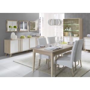 Vitrine, vaisselier, argentier MALMO grand modèle + LED. Meuble type SCANDINAVE idéal pour votre salle à manger