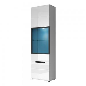 Vitrine, bibliothèque, vaisselier LUCIA modèle haut + LED. Meuble design idéal pour votre salle à manger