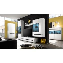 Meuble TV 180cm Collection LUCIA. 2 tiroirs, coloris blanc, façades brillantes. Style design.