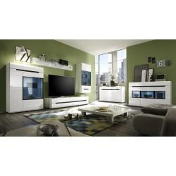 Buffet design LUCIA, 3 portes et 3 tiroirs. Coloris blanc brillant et noir
