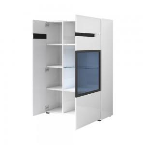 Bibliothèque, vitrine, vaisselier + LED collection LUCIA. Meuble design.
