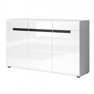 Ensemble complet meubles de salon LUCIA 6 éléments blanc et noir brillant.
