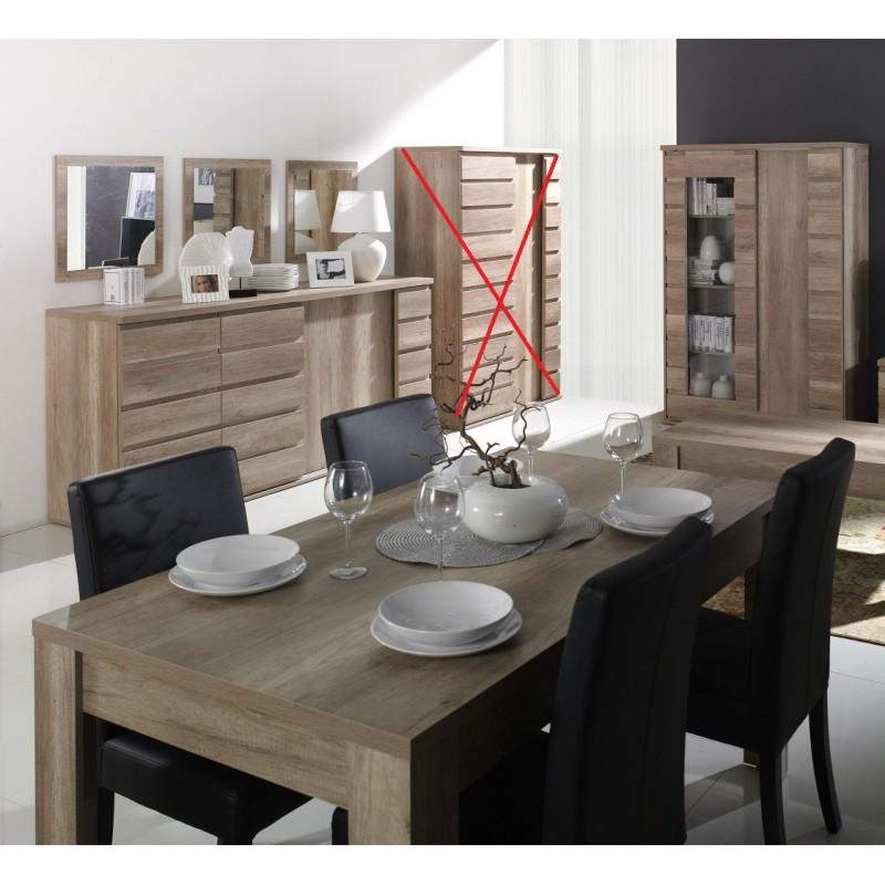 Ensemble ROMI pour salle à manger coloris chêne dab canyon. Buffet, vitrine, miroirs, table 180 cm