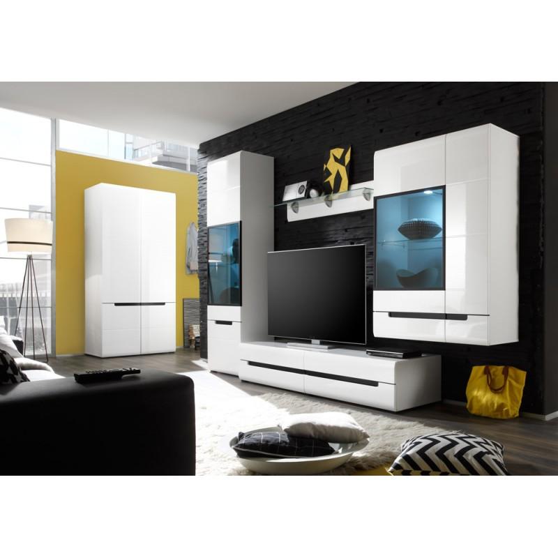 Ensemble complet meubles de salon LUCIA 5 éléments blanc et noir brillant.