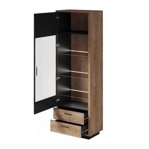 Vitrine, bibliothèque, vaisselier RODIN + LED. Meuble design idéal pour votre salle à manger