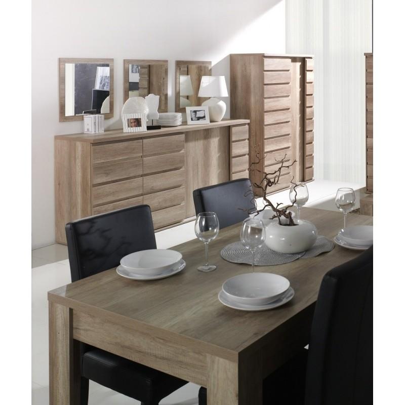 Ensemble ROMI pour salle à manger. Buffet, bar, miroirs, table 160 cm.