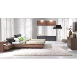 Chambre à coucher complète RENATO. Lit coffre 160x200 cm, sommier, tables de chevet intégrées, commode, armoire 200 cm.
