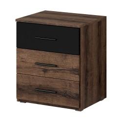 Table de chevet trois tiroirs, collection EOS. Coloris chêne foncé et noir.