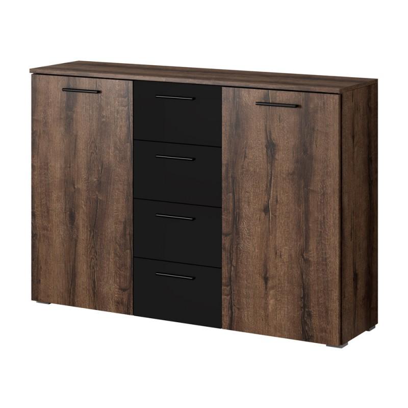 Commode design 2 portes et 4 tiroirs 130cm. Collection EOS coloris chêne foncé et noir