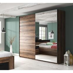 Armoire design 2 portes 200cm couleur chêne foncé. Collection EOS