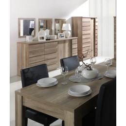 Ensemble ROMI pour salle à manger coloris chêne dab canyon. Buffet, bar, miroirs, table 180 cm
