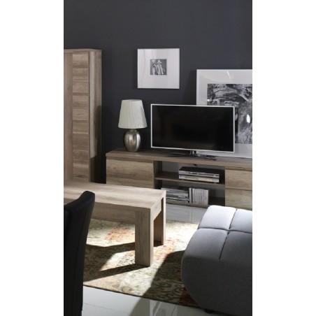 Meuble TV ROMI 2 portes coulissantes coloris chêne dab canyon. Meuble design idéal pour votre salon.