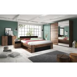 Chambre à coucher EOS : Armoire, Lit 180x200, commodes, chevets. Couleur chêne foncé et noir